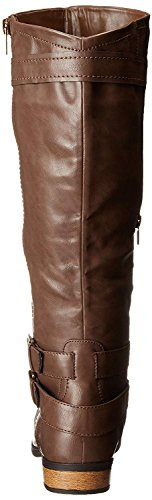 Riding Hansel Women's Knee Buckle Brown Rampage High Zipper Boot and qZwTFp