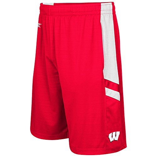Colosseum Men's NCAA-Setter Shorts-Wisconsin Badgers-Red-Large (Wisconsin Badgers Mens Basketball)