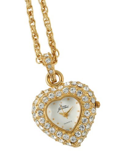 Pierre Jacquard Women's PJ8880 Gold-tone Heart Shaped Crystal Pendant Locket Mother's Day - Watches Shaped Crystal Heart