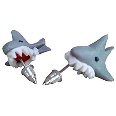 Scheppend Polymer Clay Cute Cartoon Shark Stud Earrings Made by Hand