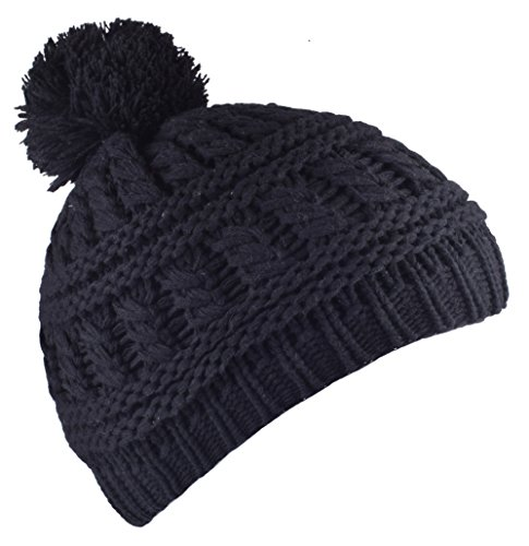 YJDS Black Beanie Hat Crochet Winter Hats Skull Cap with Pom Pom for Men and Women