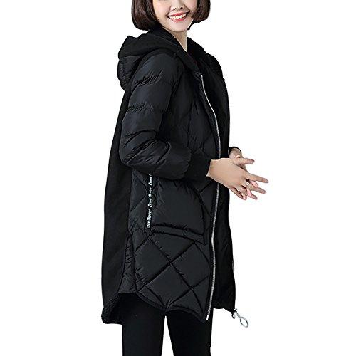 Invernale Giù Nero Per Printed Cappuccio Giacche Giacca Con Cappotto Donne Sezione Le Mena Lungo Ladys q4Atvwx