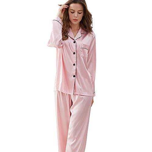 (KIMILILY Pajamas Set Satin Long Sleeve Sleepwear Silk Pj Set Two Piece Nightwear Pink )