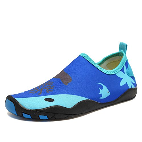 CIOR Kids Water Shoes Quick-Dry Boys and Girls Slip-On Aqua Beach Sneakers (Toddler/Little Kid/Big Kid),W18,1.Blue,39 0