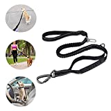 4-6FT Strong Bungee Dog Leash, Reflective Dog Walking Leash with Car Seat Belt Buckle for Medium and Large Dogs, Durable 2 Padded Handles