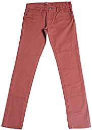 Hey Collection Big Girls Brushed Stretch Twill Skinny Jeans,12,Marsala