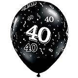 "11"" 40 Around Onyx Black Latex Balloons"