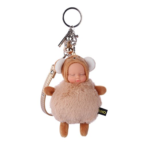 Vivi Do Cute Plush Brown Bear Keychain Pendant 9 x 13 CM/3.54 x 5.12 Inch Sleep Baby Bag Car Key Chain Valentines Day Mothers Day Gift