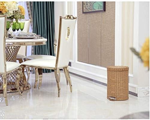 ゴミ袋 ゴミ箱用アクセサリ ふたのペダルのホテルの居間の寝室のゴミ箱が付いている創造的な藤の編まれたゴミ箱 キッチンゴミ箱 (サイズ : 8L)