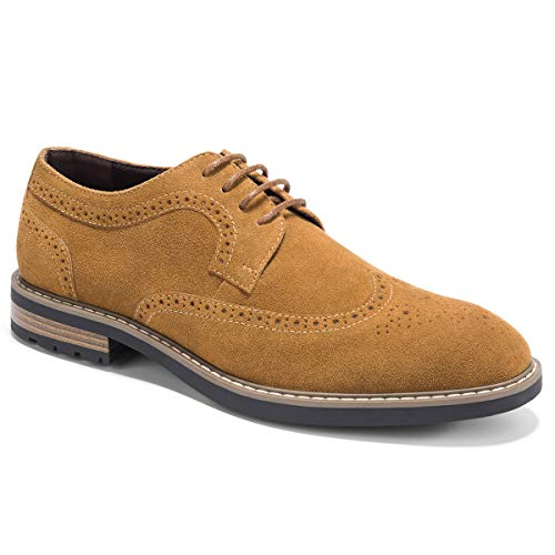 Men's Suede Oxfords Dress Shoes Lace-Up Wingtip Brogue Oxford Shoe Zapatos de Hombre Brown 14 -