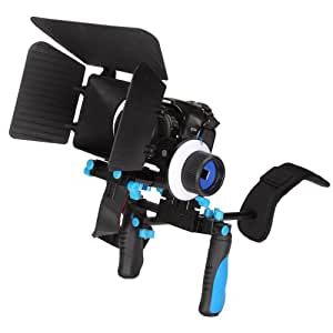Camgeeker DSLR RIG with Follow Focus and Matte Box for Video Camcorder Camera DV DSLR Cameras