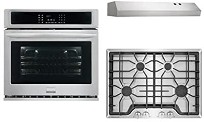 "Frigidaire Frigidaire Gallery 3-Piece Kitchen Package With FGGC3045QS 30"" Gas Cooktop, FGEW3065PF 30"" Electric Single Wall Oven and FHWC3025MS 30"" Under Cabinet Convertible Hood in Stainless Steel"