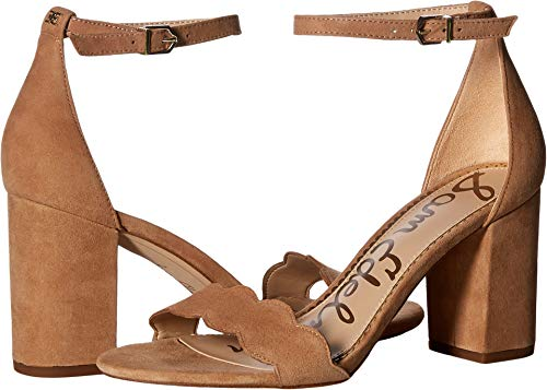 Sam Edelman Women's Odila Ankle Strap Sandal Heel Camel Suede Leather 4 M US ()