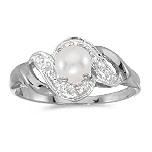 0.01 Carat (ctw) 14k White Gold Round Freshwater-Cultured Pearl and Diamond Bypass Swirl Engagement Anniversary Fashion Ring (4.5 MM) - Size 4