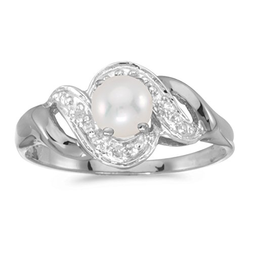 10k White Gold Freshwater Cultured Pearl And Diamond Swirl Ring (Size 7) - Freshwater Pearl Swirl Ring
