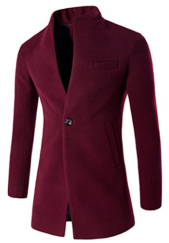 LifeHe Mens Winter Stylish Classic Wool Blend Double Breasted Pea Coat (L, Wine Red)