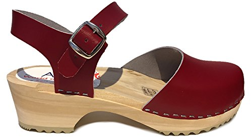 World Of Clogs.com Am-toffeln 414 Sandali Zoccoli In Legno Rossi Rossi