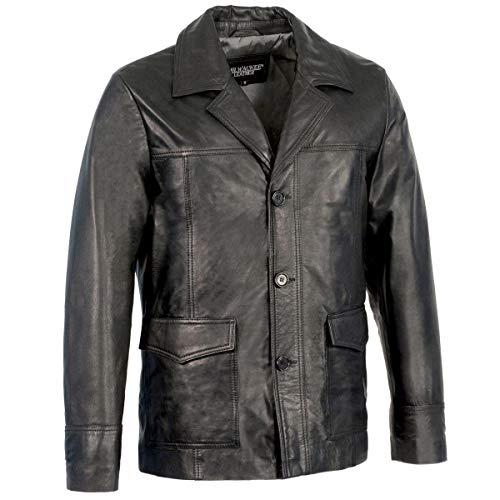 Milwaukee Leather SFM1870 Men's Button Front Black Leather Car Coat Jacket - Black/Large - L