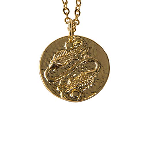 18K Zodiac Gold Pendant Necklace for Women - Double Layered Adjustable Chain 16-18 - Simple Gold Filled Horoscope Choker Necklaces for Girls - Aries, Pisces, Sagittarius with 5 Necklace Extenders