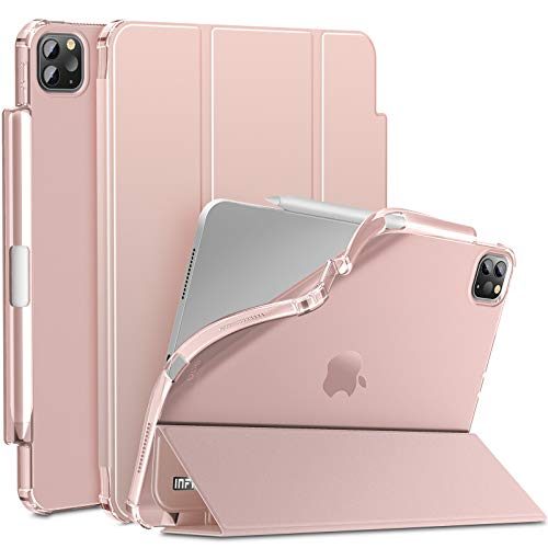 INFILAND iPad Pro 11 2020 Case with Pencil Holder, Tri-Fold Case with Frosted Translucent Back Fit iPad Pro 11 2020/ iPad Pro 11 2018 [Support Auto Wake/Sleep] Rose Gold