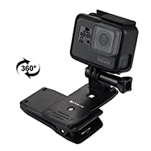 quick clip mount for gopro, Puluz® - backpack/hat 360 rotating clip and release clamp, for hero and session camera editions