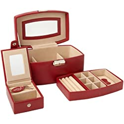 Wolf Designs 280904 Heritage Collection Medium Jewelry Travel Case, Red