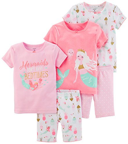 Girls Pajamas Pjs - Carter's Girls' Toddler 5-Piece Cotton Snug-Fit Pajamas, Mermaid, 4T