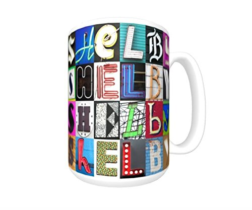 - SHELBY Coffee Mug / Cup - using photos of sign letters - personalized