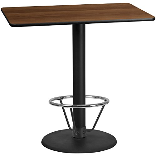 48' Round Dining Table (Flash Furniture 30'' x 48'' Rectangular Walnut Laminate Table Top with 24'' Round Bar Height Table Base and Foot Ring)