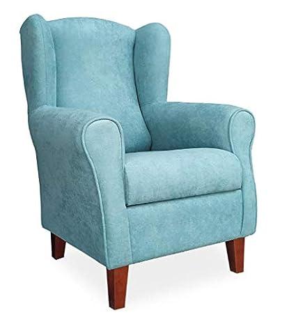 Gasten a gusto Butaca Sillón Orejera para salón o Dormitorio- Tela Antimancha. Color Azul (Medidas pequeñas: 103 * 74 * 78 cm.) (Azul)