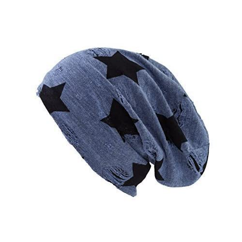 8ff0d1411fd8 Shenky - Gorro caído de punto - Envejecido - Azul con estrellas 50 ...