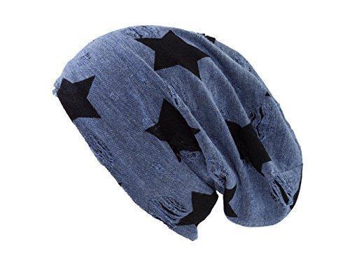 Envejecido Gorro con de punto estrellas caído Shenky Azul nTIxB6Fw