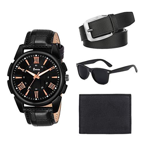 Zesta Men's Combo Pack of Black Analog Watch, a Sunglass, Wallet and a Belt, Black