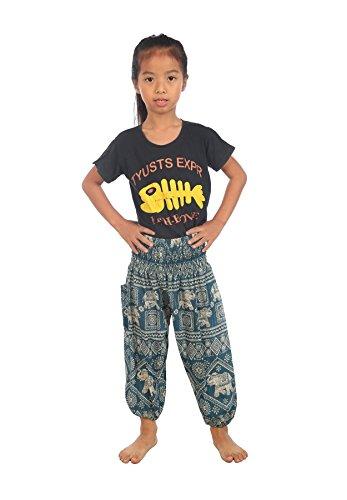 Lofbaz Baby Hippy Gphsy Child Thai Elephant Stamp Bohemian Pants Teal Green Size (Retro Baby Clothes)
