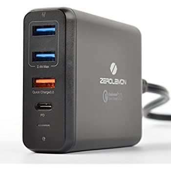 USB Type-C PD Charger, ZeroLemon 75W 4-Ports USB-C PD Smart Desktop Charger with Power Delivery for Apple MacBook Pro, Nintendo Switch and Quick Charge 3.0 for Note 8, iPhone X, S8/S8 Plus and More