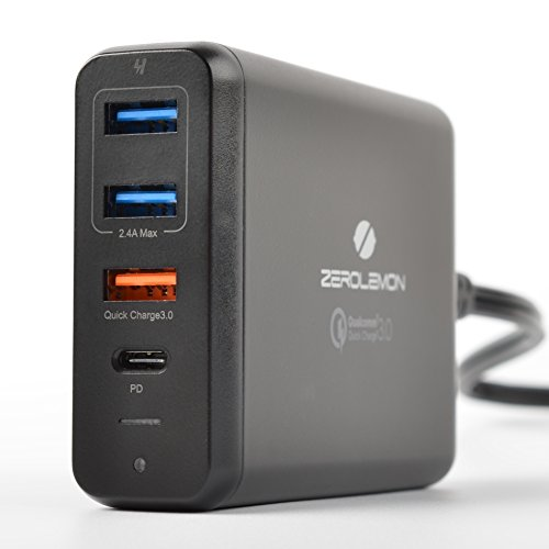 USB-C PD Desktop Charger, ZeroLemon 75W 4-Port PD Smart Charger with QC 3.0 for Apple, Samsung, Computers and More