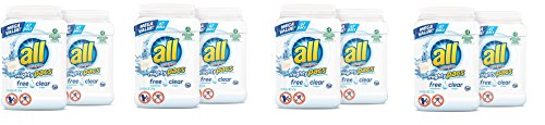 all Mighty Pacs Laundry Detergent, Free Clear for Sensitive Skin, 67 Count, 2 Tubs, 134 Total Loads (4 Case)