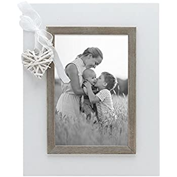 Amazon.com - SUMGAR Rustic White Picture Frame 5x7 with Wooden Love ...