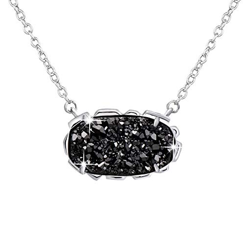 - Black Necklaces Gifts for Women Girls Quartz Druzy Sterling Silver Pendant Fine Jewelry Dainty Forever Love
