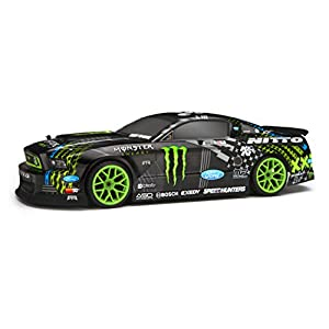 HPI RACING E10 DRIFT VAUGHN GITTIN JR. MONSTER ENERGY NITTO TIRE FORD MUSTANG RTR REMOTE CONTROL CAR BLACK 1/10