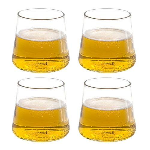 Triangle 12oz, Whiskey Snifter Glasses Set of 4, Hand Blown Borosilicate Glass, Dishwasher Safe, Lowball Glasses for Cool Beer, Hot Beverage, Cocktail, Juice, Ice Tea, Wine Glasses Gift Set
