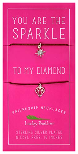 Lucky Feather Friendship Necklace Set for Women and Girls, Sterling Silver Dipped You are The Sparkle to My Diamond (2 Pieces)