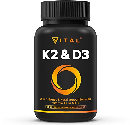 Vitamin D Bone Density - Vitamin K2 (MK7) with D3 Supplement - Vitamin D & K Complex - Bone and Heart Health Formula - 5000 IU Vitamin D3 & 90 mcg Vitamin K2 MK-7-60 Small & Easy to Swallow Vegetable Capsules