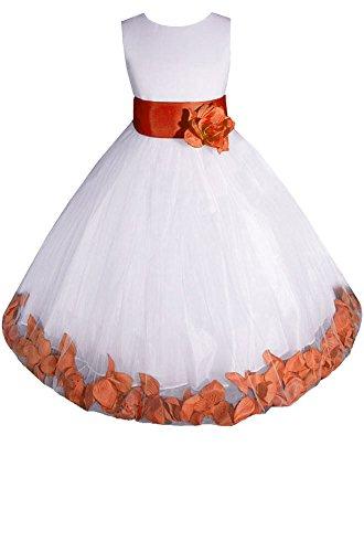 - AMJ Dresses Inc Little-Girls' White/Orange Flower Girl Dress E1008 Sz 6