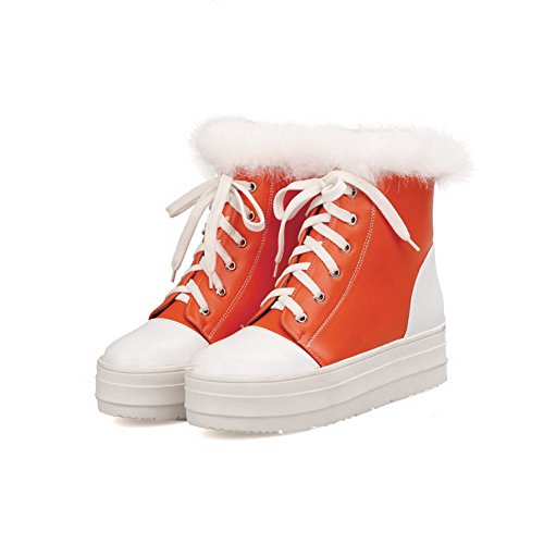 5 Color Boots with Short Platform Kitten M Plush PU Heels Orange Assorted Round Toe B 5 US AmoonyFashionWomens Closed qzSRZZ