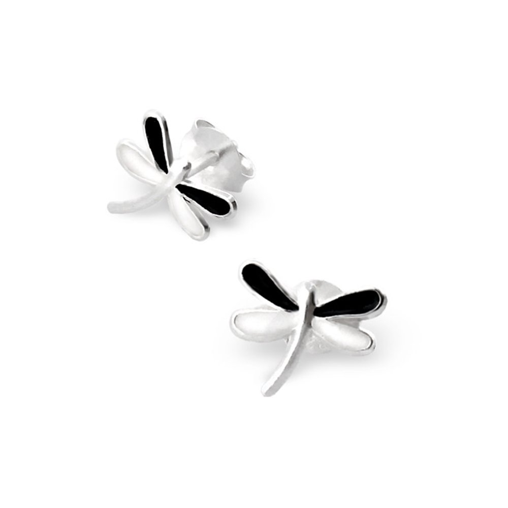 fefac6ea2 Amazon.com: Black And White Dragonfly Silver Ear Studs Child Kids Girl  Safety Baby Earrings Girls: Jewelry