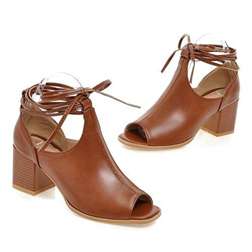 RAZAMAZA brown Lacets Femmes Sandales RAZAMAZA Femmes Lacets Sandales 5xwH88