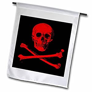 Xander Movie Quotes - Skull and Crossbones Picture of red Skull and Bones on Black Back - 12 x 18 inch Garden Flag (fl_201873_1)