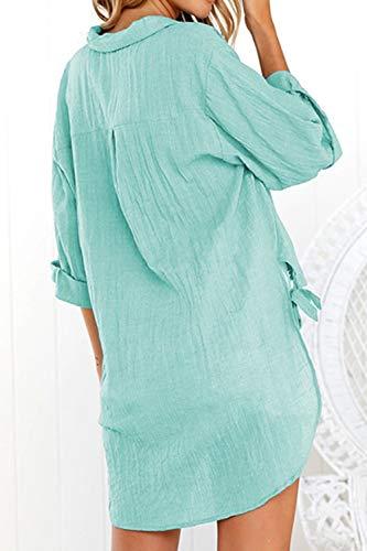 V T Casual Asymtrique Femmes Lache Cou Lakeblue Haut T Shirt Tops Chemisier w16qqTtO