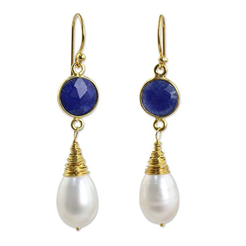 NOVICA Sapphire Cultured Freshwater Pearl 24k Gold Plated Sterling Silver Dangle Earrings, 'Midnight - Mother Earrings Of Pearl Sapphire